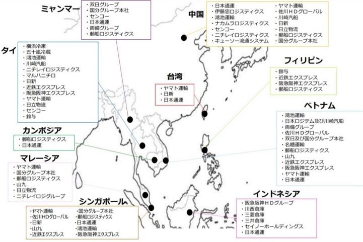 主な日系企業事業者のアジアでのコールドチェーン展開 船井総研呂位株式会社