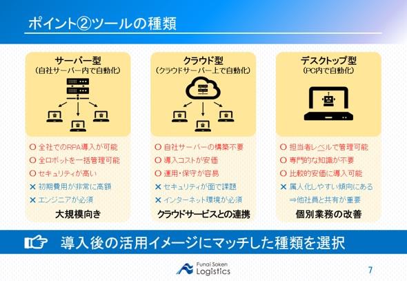 RPAツールの選び方 5つのポイント 2 ツールの種類